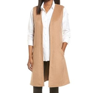 Halogen sleeveless wool blend long layering vest